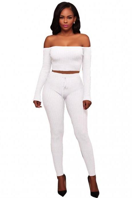 Sexy Two Piece Sets Women Off Shoulder Crop Top+Long Pants Suit Lady Leisure Tracksuit off white