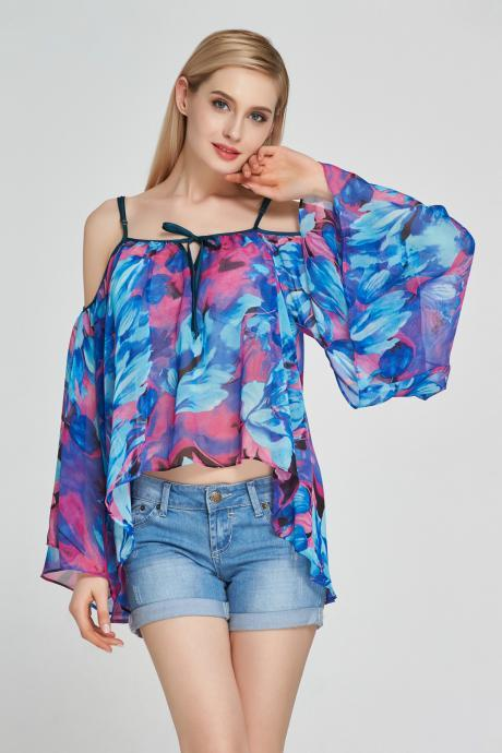 Sexy Floral Printed Chiffon Blouses Off Shoulder Casual Women Shirt Flare Sleeves Tops blue