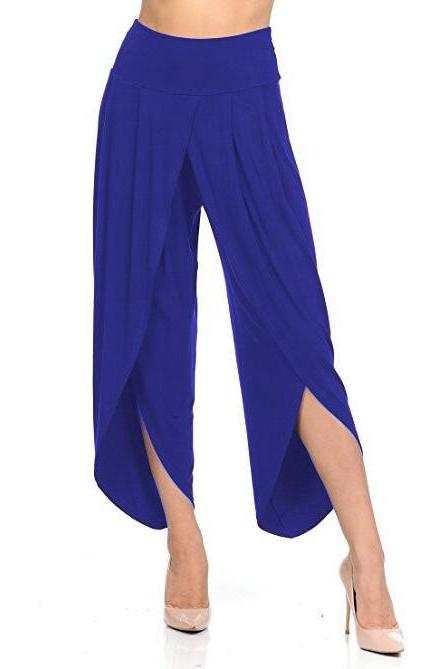New Irregular Wide Leg Pants Women Fashion Cross Split Ladies Solid Casual Comfortable Loose Trousers blue