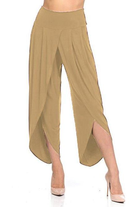 New Irregular Wide Leg Pants Women Fashion Cross Split Ladies Solid Casual Comfortable Loose Trousers khaki