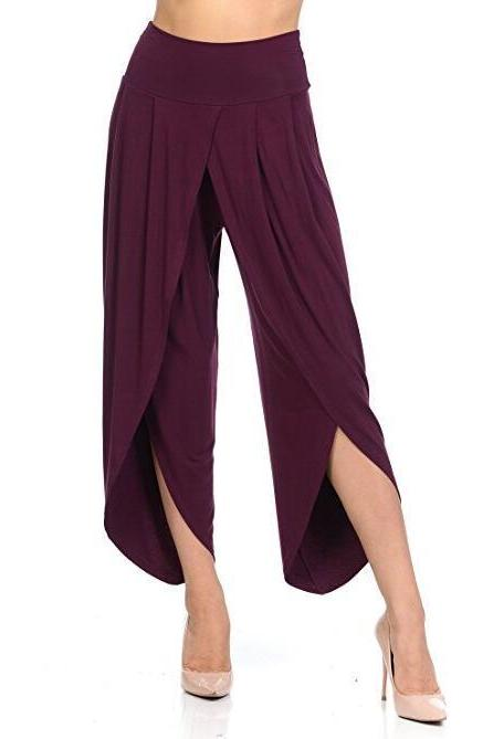 New Irregular Wide Leg Pants Women Fashion Cross Split Ladies Solid Casual Comfortable Loose Trousers purple