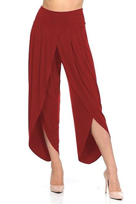 New Irregular Wide Leg Pants Women Fashion Cross Split Ladies Solid Casual Comfortable Loose Trousers red