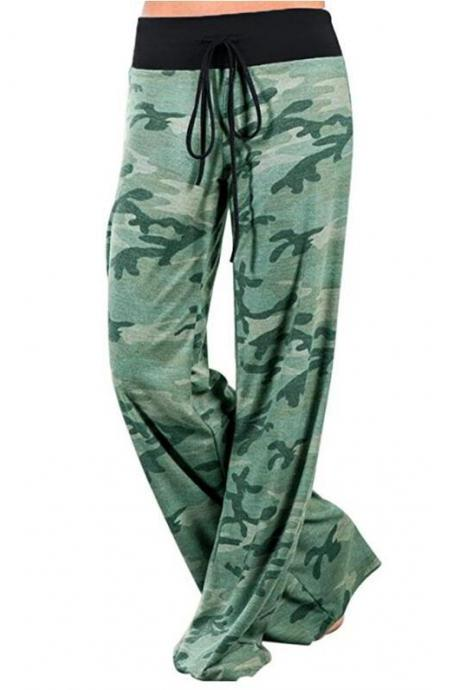 Women Long Wide-Leg Pants Drawstring Mid Waist Polka Dot/Camouflage Casual Straight Palazzo Trousers green camouflage