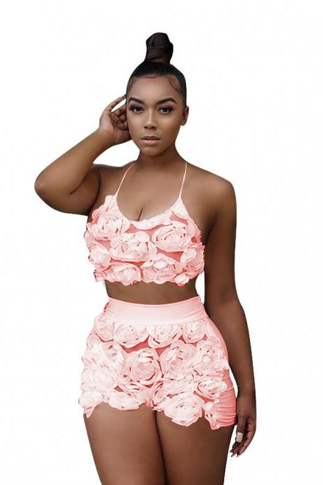 Sexy Two Piece Sets Women Floral Mesh Lace Halter Crop Top+Shorts Summer Outfits Clothing Set pink