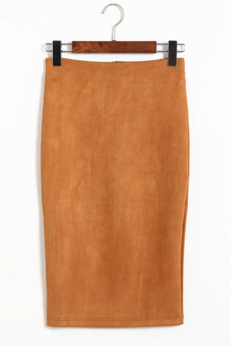 Spring Faux Suede Pencil Skirt High Waist Split Stretchy Bodycon Midi Skirt khaki