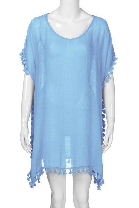 Women Tassels Bikini Cover Up Irregular See-Through Tunic Swimwear Summer Beach Dress baby blue