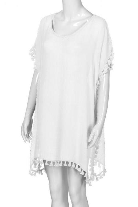 Women Tassels Bikini Cover Up Irregular See-Through Tunic Swimwear Summer Beach Dress off white