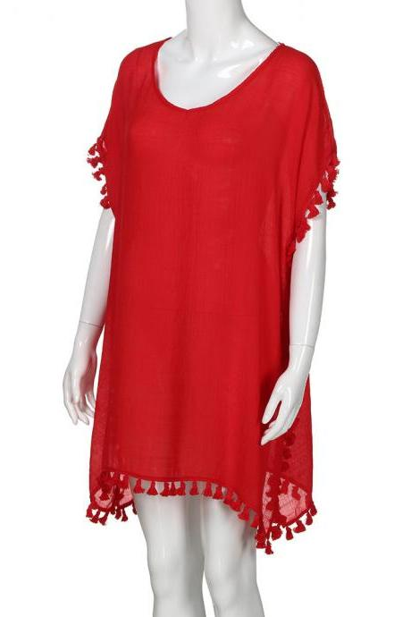 Women Tassels Bikini Cover Up Irregular See-Through Tunic Swimwear Summer Beach Dress red