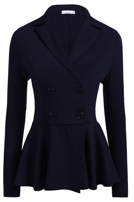 Women Slim Suit Coat Spring Autumn Long Sleeve Double-Breasted Work Wear Casual Jacket navy blue