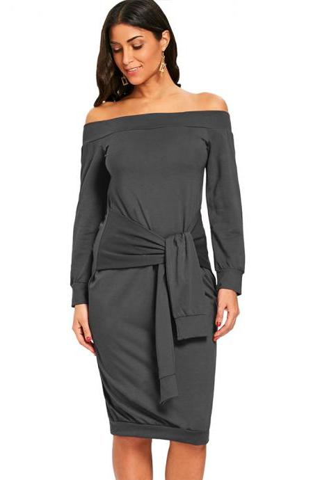 Sexy Slim Pencil Party Dress Off Shoulder Tie Belted Long Sleeve Bodycon Party Dress dark gray