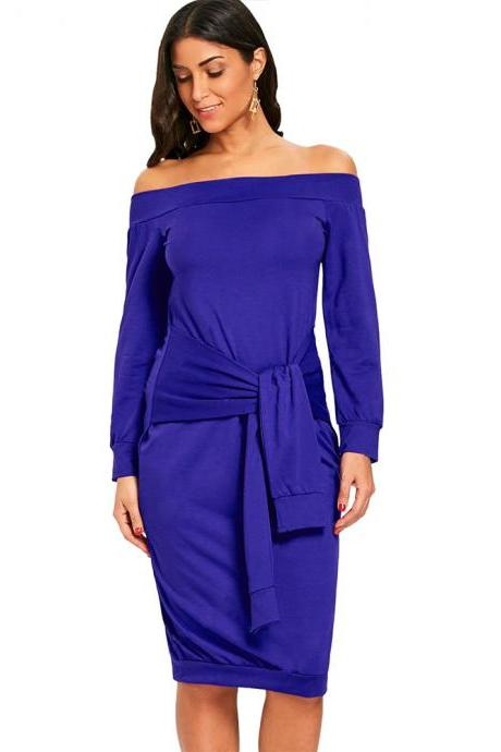 Sexy Slim Pencil Party Dress Off Shoulder Tie Belted Long Sleeve Bodycon Party Dress royal blue