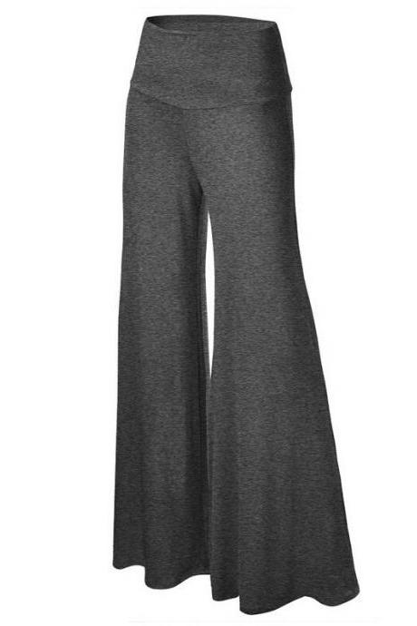 Women Slim Flare Pants High Waist Long Trousers Casual Office Work Wide Leg Trousers dark gray