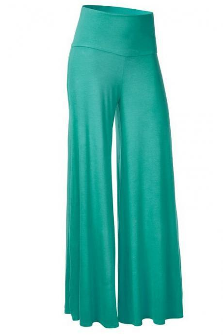 Women Slim Flare Pants High Waist Long Trousers Casual Office Work Wide Leg Trousers green