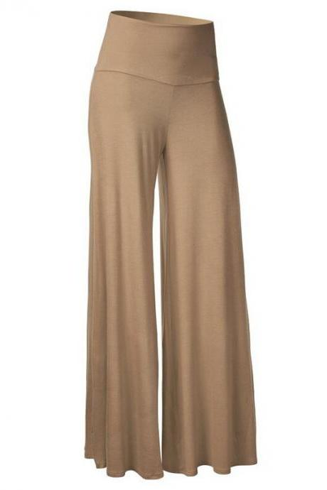 Women Slim Flare Pants High Waist Long Trousers Casual Office Work Wide Leg Trousers khaki