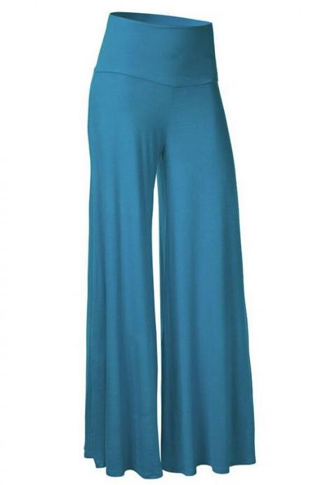 Women Slim Flare Pants High Waist Long Trousers Casual Office Work Wide Leg Trousers baby blue