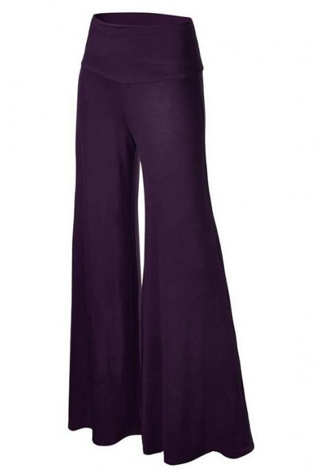Women Slim Flare Pants High Waist Long Trousers Casual Office Work Wide Leg Trousers purple