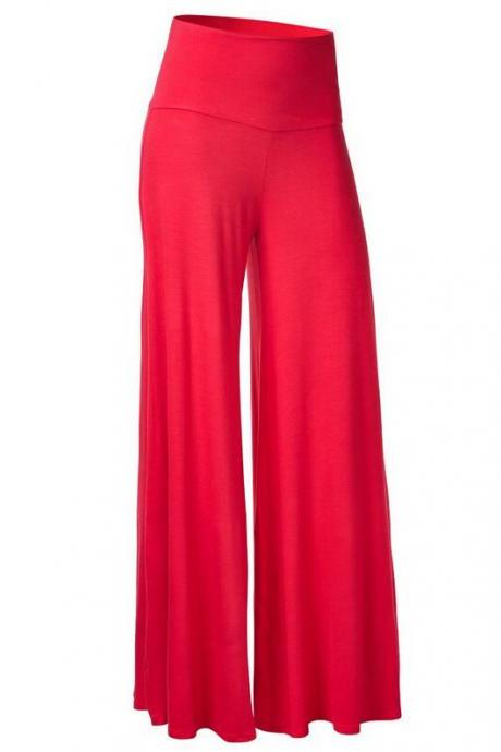 Women Slim Flare Pants High Waist Long Trousers Casual Office Work Wide Leg Trousers red