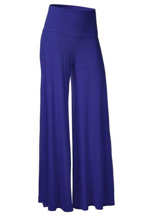 Women Slim Flare Pants High Waist Long Trousers Casual Office Work Wide Leg Trousers royal blue