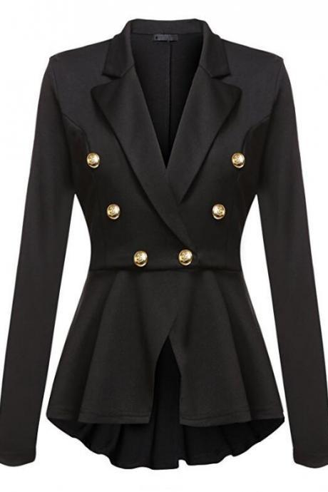 Women Slim Suit Coat Spring Autumn Metal Button Long Sleeve Double-Breasted Lady Blazer Work Wear black