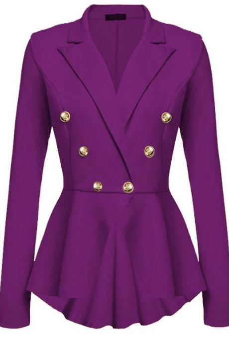 Women Slim Suit Coat Spring Autumn Metal Button Long Sleeve Double-Breasted Lady Blazer Work Wear purple