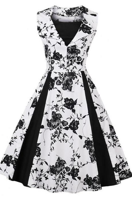 Women Sleeveless Floral Print Patchwork Swing Dress Vintage 50 60s Summer Party Dress5#