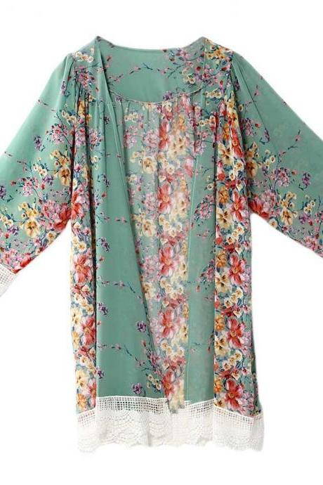 Fashion Floral Printed Chiffon Kimono Lace Patchwork Long Sleeve Women Cardigan Loose Coat Jacket green