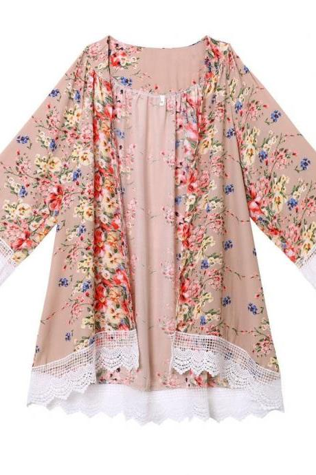 Fashion Floral Printed Chiffon Kimono Lace Patchwork Long Sleeve Women Cardigan Loose Coat Jacket khaki