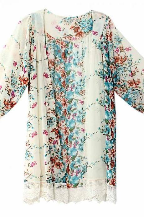 Fashion Floral Printed Chiffon Kimono Lace Patchwork Long Sleeve Women Cardigan Loose Coat Jacket off white