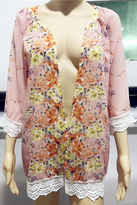 Fashion Floral Printed Chiffon Kimono Lace Patchwork Long Sleeve Women Cardigan Loose Coat Jacket pink