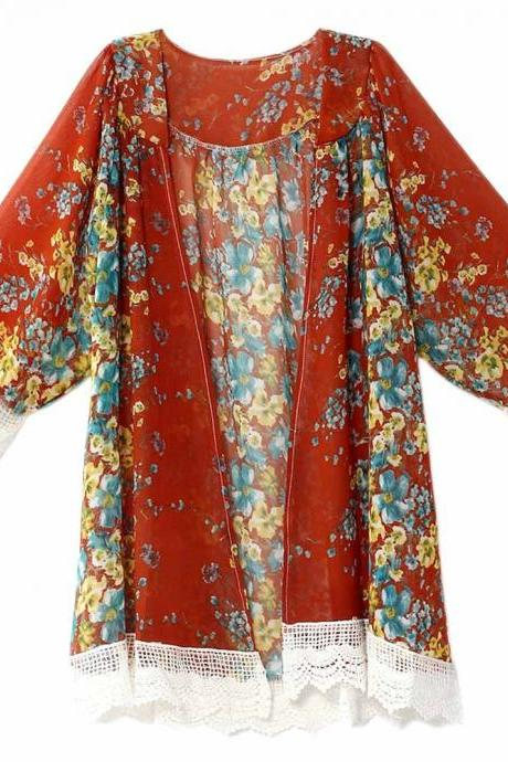 Fashion Floral Printed Chiffon Kimono Lace Patchwork Long Sleeve Women Cardigan Loose Coat Jacket purplish red