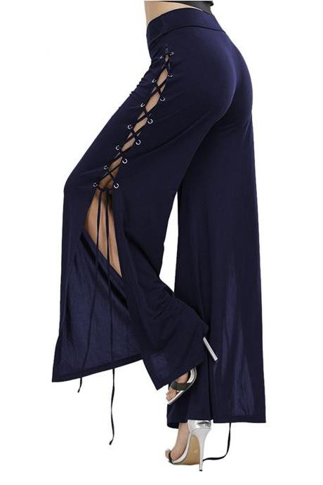 Women Cross Lace Up Wide Leg Pants Sexy Side Slit High Waist Loose Long Palazzo Trousers navy blue