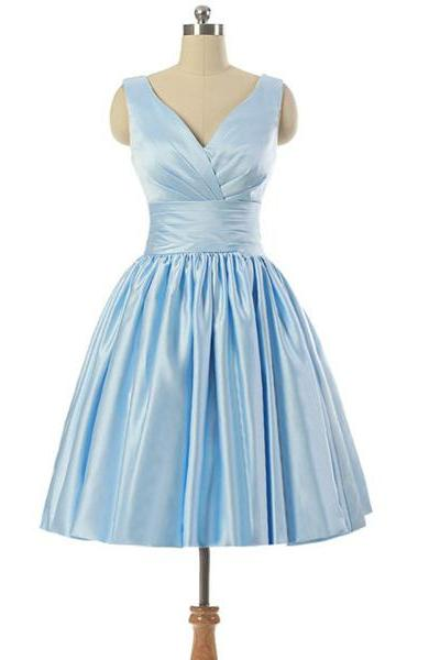 A-line V-neck Light Sky Blue Satin Sleeveless Lace-up Pleats Short Homecoming Dresses,Short Cocktail Dresses,Prom Dresses