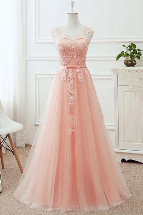 Soft Pink Prom Dress,Tulle Long Bridesmaid Dress, Long Formal Gowns, A-line Party Dress