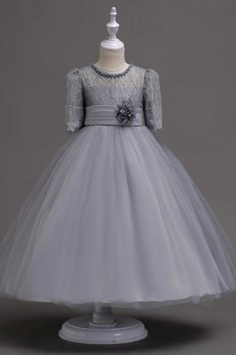 Princess Lace Flower Girl Dress Short Sleeve Wedding First Communion Party Gown Kids Children Clothes gray