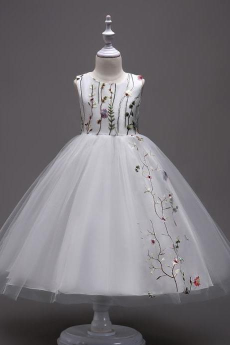 Embroidery Flower Girl Dress Sleeveless Princess Formal Prom First Communion Party Gown Kids Children Clothes off white