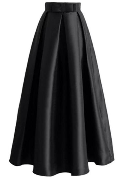 Plain Muslim Women Casual Maxi Pleated Skirts High Waist Ladies A Line Long Skater Skirt black