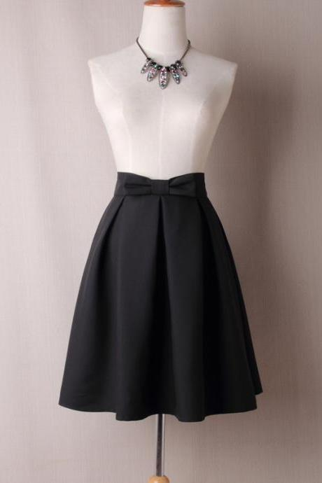 Black Bow Accent High Rise Knee Length Ruffled Skater Skirt