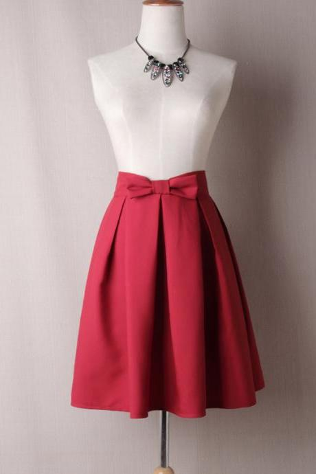 Women Midi Skirt High Waist Pleated Knee Length Vintage A Line Bow Zipper Skater Skirt crimson