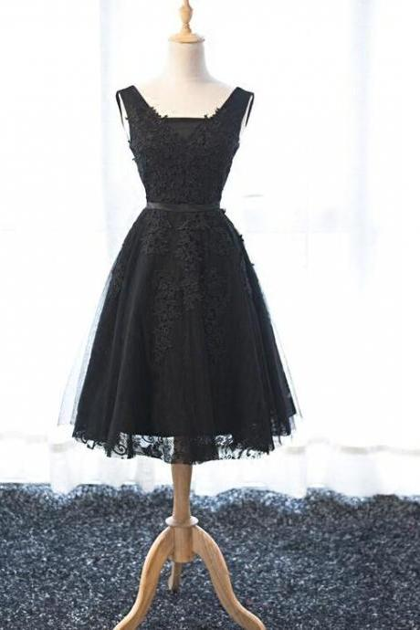 Black A-Line Tulle Homecoming Dresses, V-neck Prom Dresses, Cocktail Dresses