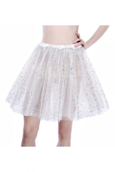 Adult Tutu Skirt Sequin Gilding Polka Dot 3 Layers Party Dance Ballet Pettiskirt Tulle Girl Mini Skirt off white