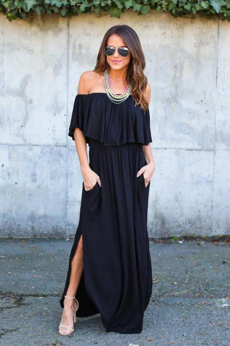 Black Off-the-Shoulder Ruffle Casual Summer Maxi Dress with Side Pockets and Side Slits