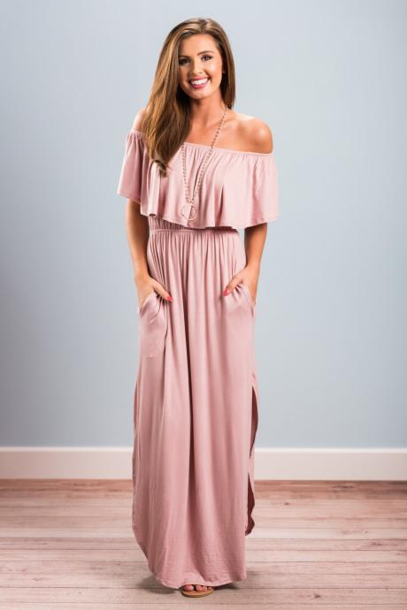Pink Off-the-Shoulder Ruffle Casual Summer Maxi Dress with Side Pockets