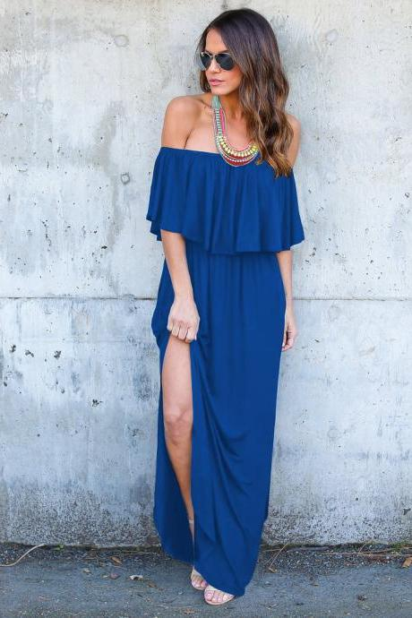 Royal Blue Off-The-Shoulder Ruffle Casual Summer Maxi Dress with Side Pockets and Side Slits