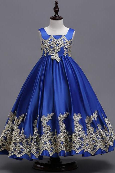 Princess Flower Girl Dresses Embroidery Lace Long First Communion Party Prom Gowns royal blue