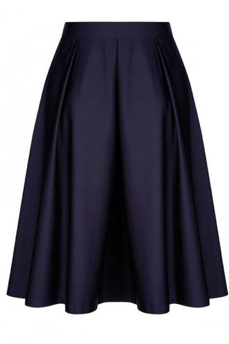 Fashion Women Midi Skater Skirt High Waist Zipper Pleated Swing A Line Skirt navy blue