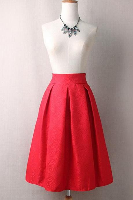 Vintage A Line Midi Skirt High Waist Knee Length Women Work Pleated A Line Skater Skirt red