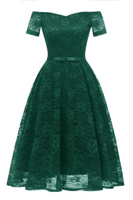 Off the Shoulder Floral Lace Dress Women Short Sleeve Belted Vintage A Line Cocktail Party Dress green