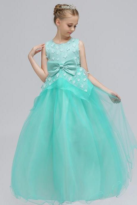 Long Flower Girl Dress Princess Lace Bow Birthday Formal Party Gowns Children Clothes aqua