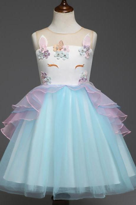Fancy Kids Unicorn Dress Girls Embroidery Flower Baby Girl Princess Party Costumes Gowns blue