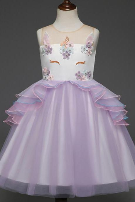 Fancy Kids Unicorn Dress Girls Embroidery Flower Baby Girl Princess Party Costumes Gowns lilac